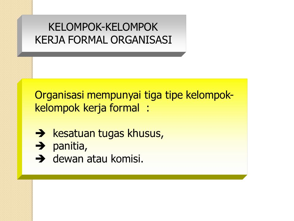 KELOMPOK-KELOMPOK KERJA FORMAL ORGANISASI. Organisasi mempunyai tiga tipe kelompok- kelompok kerja formal :