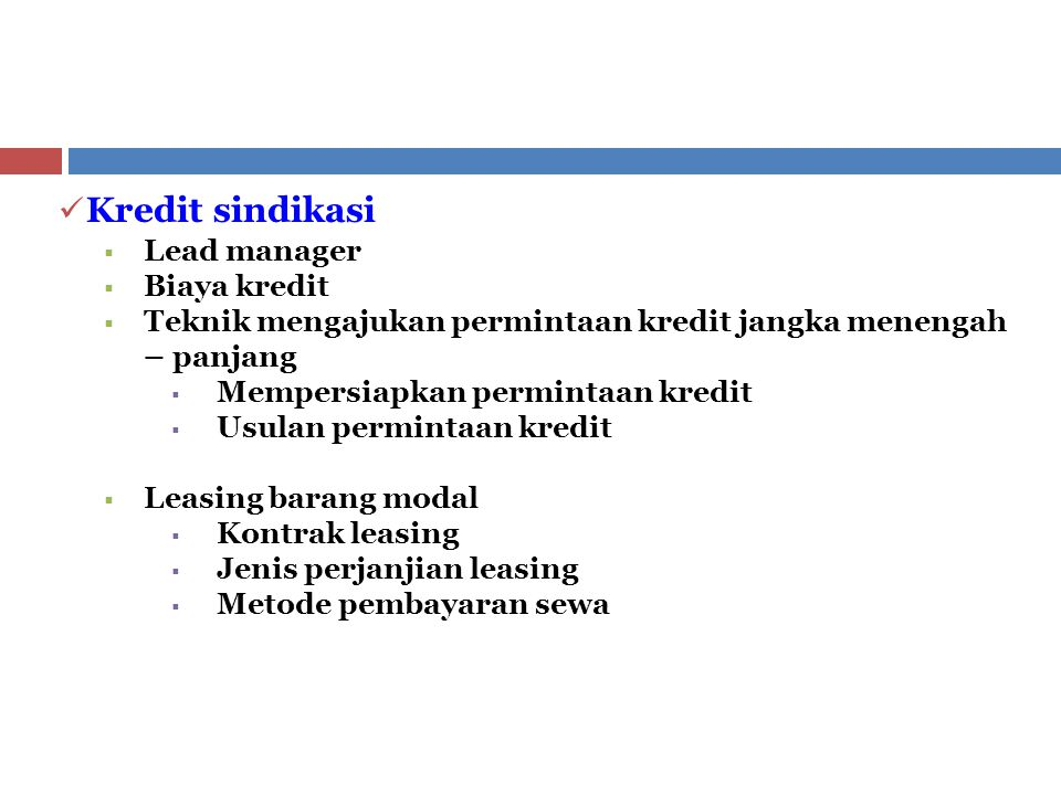 Kredit sindikasi Lead manager Biaya kredit