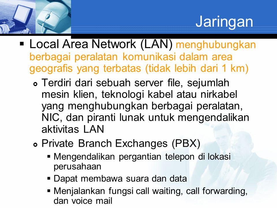 Jaringan Local Area Network (LAN) menghubungkan berbagai peralatan komunikasi dalam area geografis yang terbatas (tidak lebih dari 1 km)