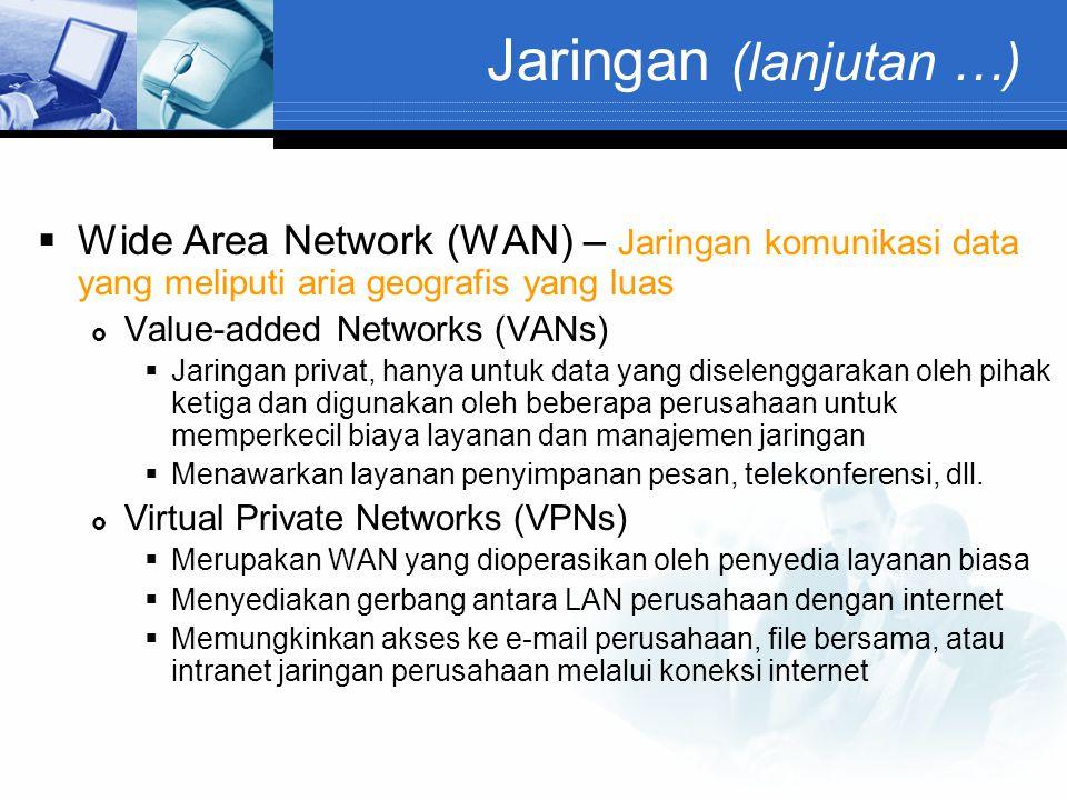 Jaringan (lanjutan …) Wide Area Network (WAN) – Jaringan komunikasi data yang meliputi aria geografis yang luas.