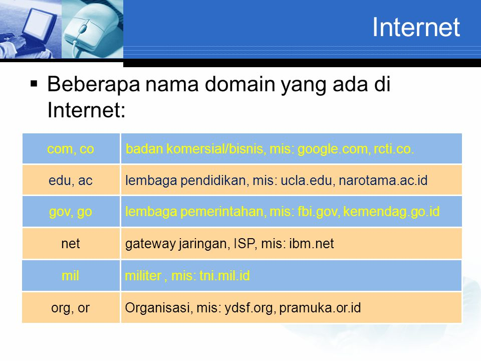 Internet Beberapa nama domain yang ada di Internet: com, co