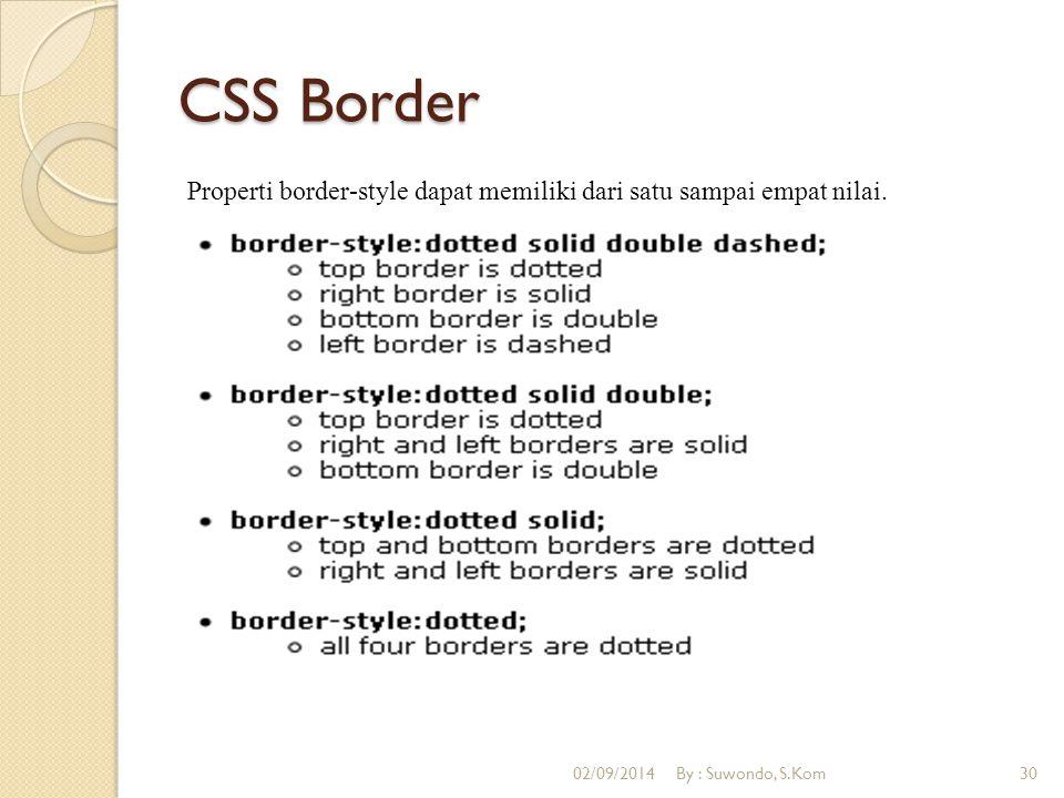 CSS Border Properti border-style dapat memiliki dari satu sampai empat nilai.