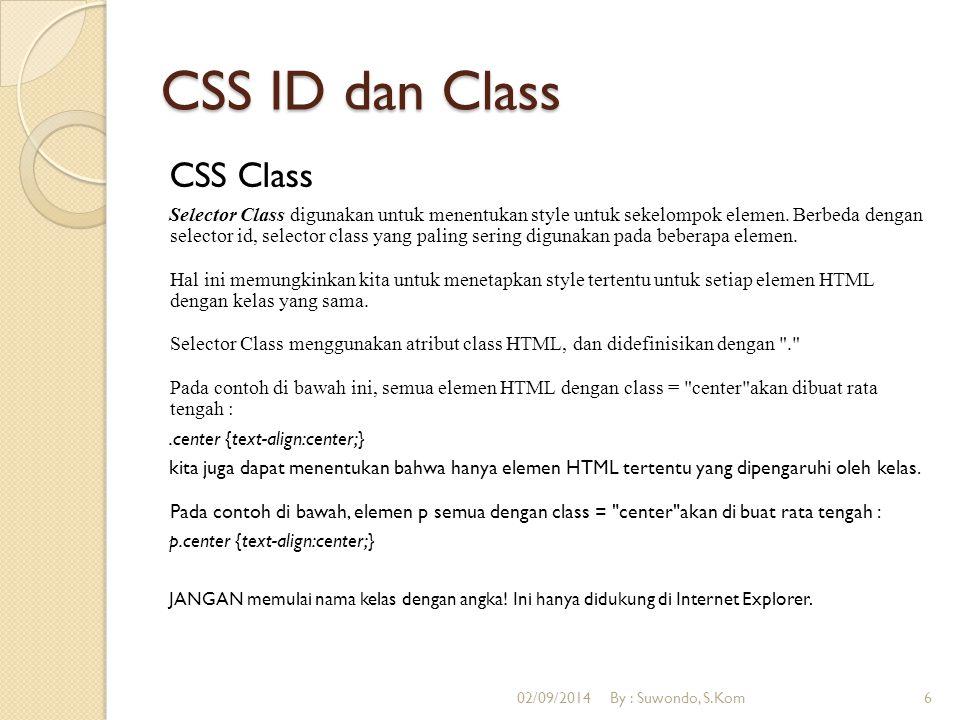 CSS ID dan Class CSS Class