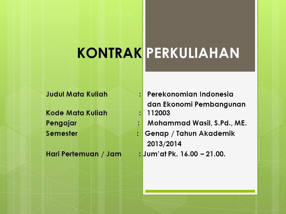 KONTRAK PERKULIAHAN Judul Mata Kuliah : Perekonomian Indonesia