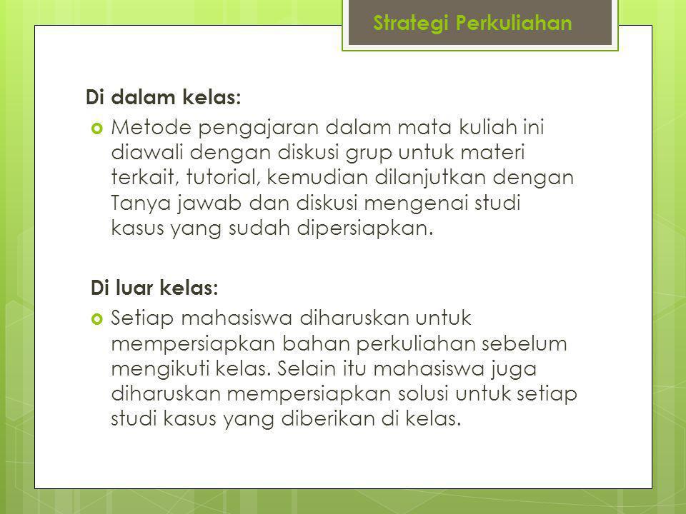 Strategi Perkuliahan Di dalam kelas: