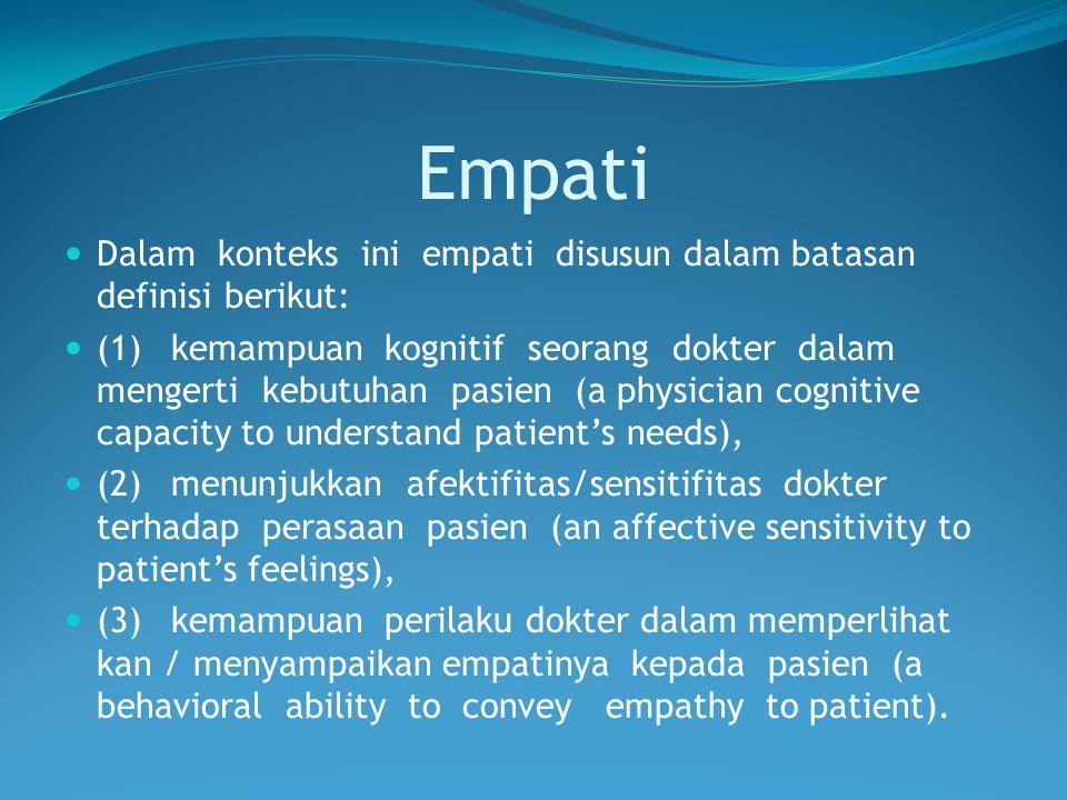 Empati Dalam konteks ini empati disusun dalam batasan definisi berikut: