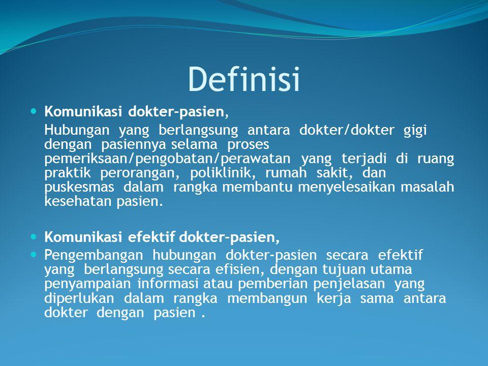 Definisi Komunikasi dokter-pasien,