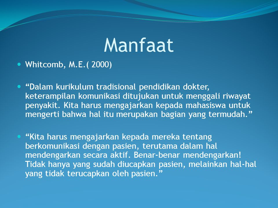 Manfaat Whitcomb, M.E.( 2000)