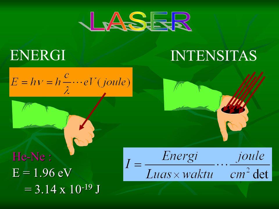 LASER ENERGI INTENSITAS He-Ne : E = 1.96 eV = 3.14 x 10-19 J