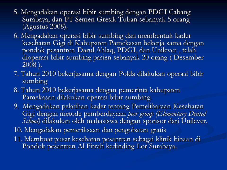 5. Mengadakan operasi bibir sumbing dengan PDGI Cabang Surabaya, dan PT Semen Gresik Tuban sebanyak 5 orang (Agustus 2008).