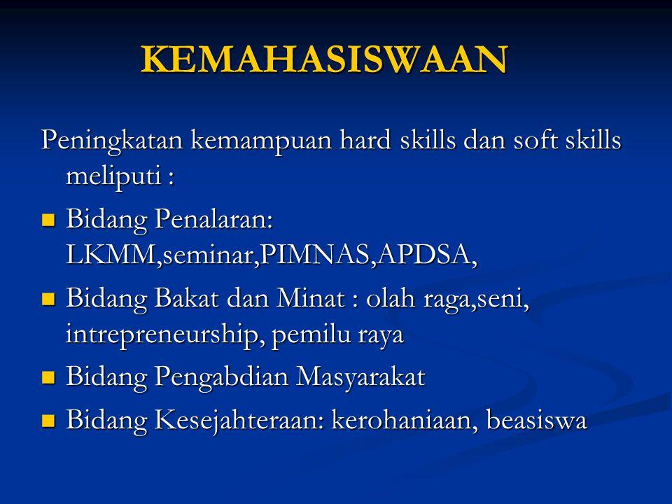 KEMAHASISWAAN Peningkatan kemampuan hard skills dan soft skills meliputi : Bidang Penalaran: LKMM,seminar,PIMNAS,APDSA,