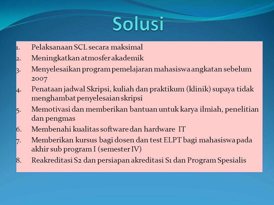 Solusi Pelaksanaan SCL secara maksimal Meningkatkan atmosfer akademik