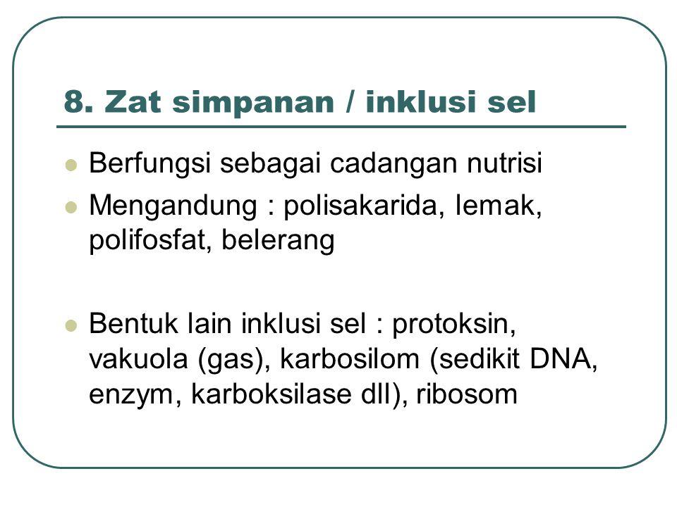 8. Zat simpanan / inklusi sel