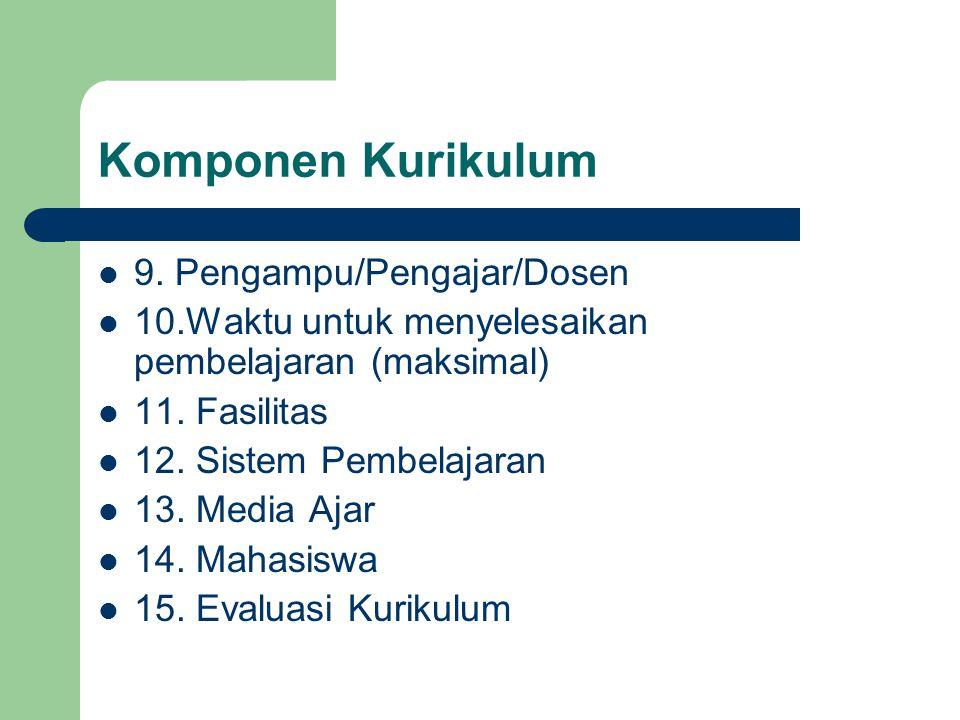 Komponen Kurikulum 9. Pengampu/Pengajar/Dosen