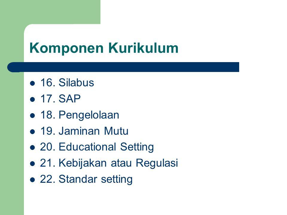 Komponen Kurikulum 16. Silabus 17. SAP 18. Pengelolaan