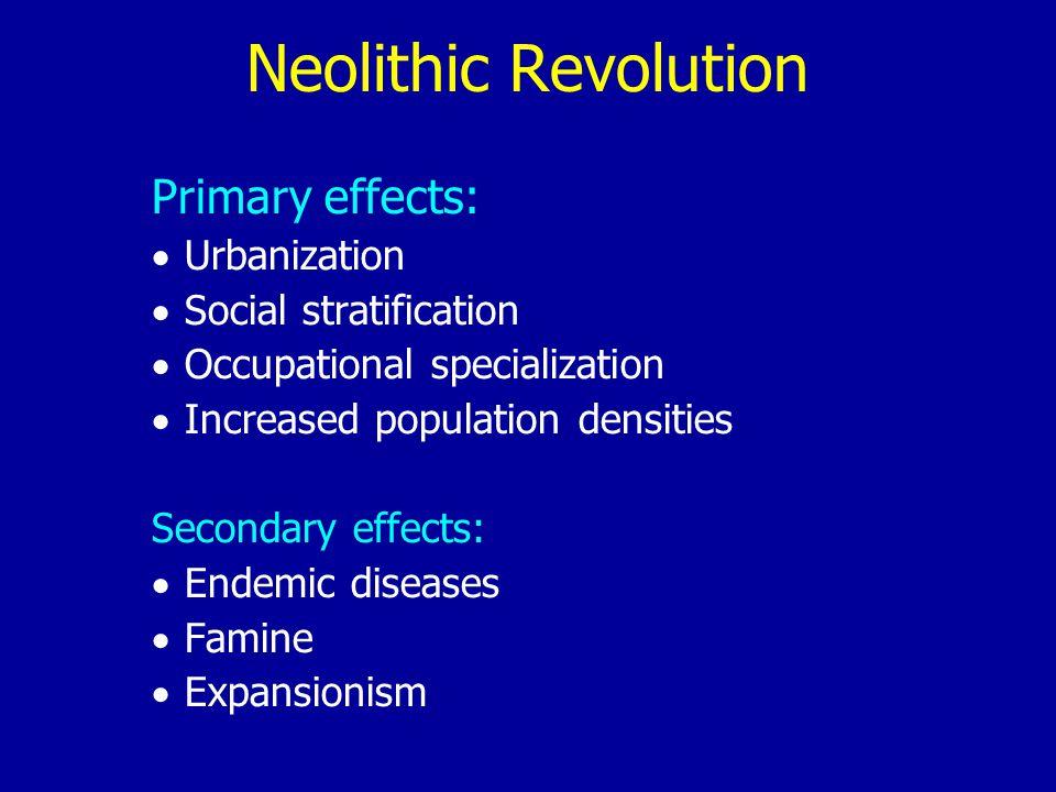 Neolithic Revolution Primary effects: Urbanization