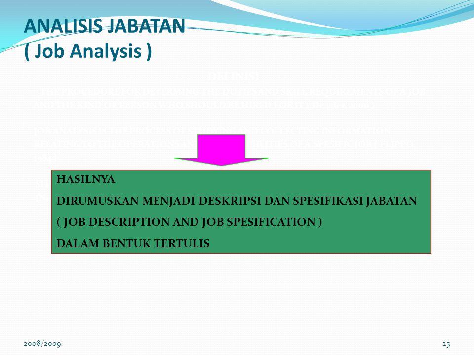 ANALISIS JABATAN ( Job Analysis )
