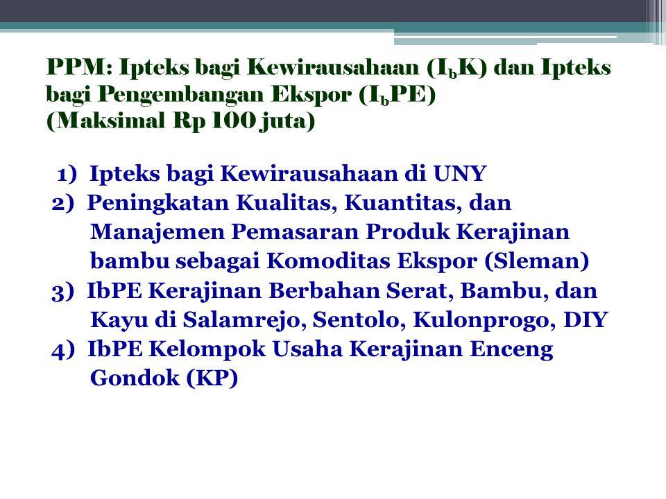 PPM: Ipteks bagi Kewirausahaan (IbK) dan Ipteks bagi Pengembangan Ekspor (IbPE) (Maksimal Rp 100 juta)