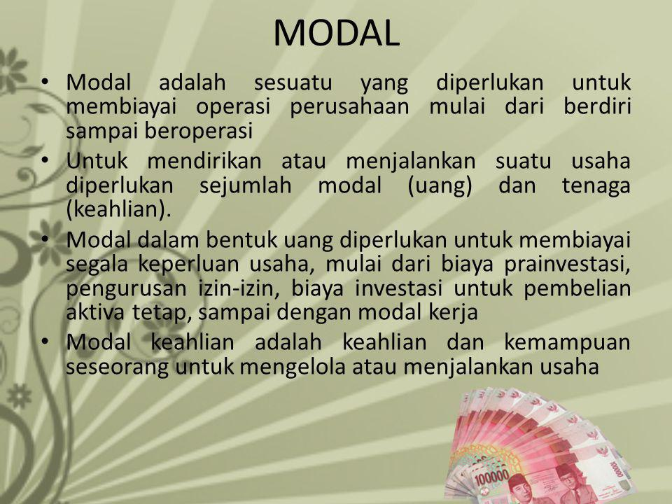 MODAL Modal adalah sesuatu yang diperlukan untuk membiayai operasi perusahaan mulai dari berdiri sampai beroperasi.