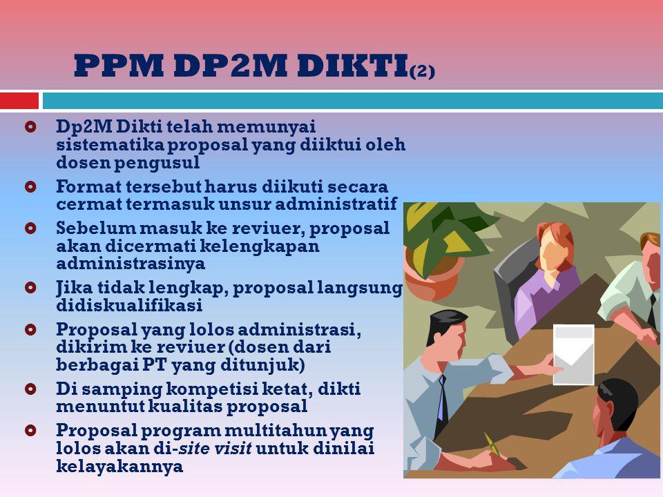 PPM DP2M DIKTI(2) Dp2M Dikti telah memunyai sistematika proposal yang diiktui oleh dosen pengusul.