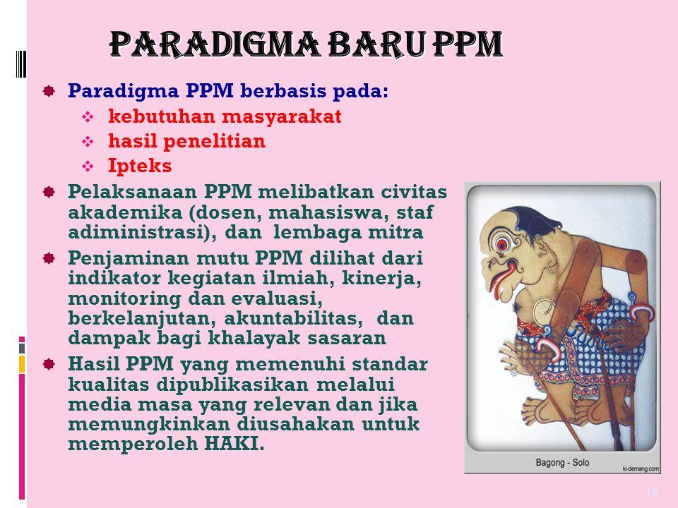 PARADIGMA BARU PPM Paradigma PPM berbasis pada: kebutuhan masyarakat