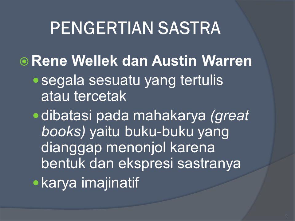 PENGERTIAN SASTRA Rene Wellek dan Austin Warren