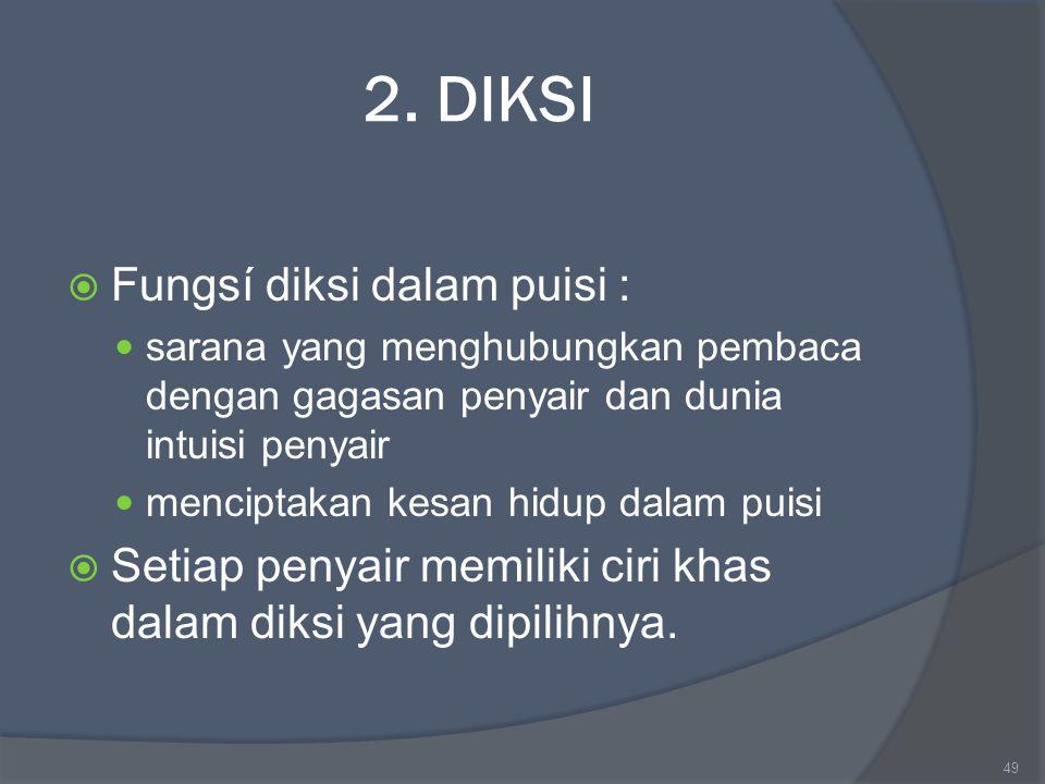 2. DIKSI Fungsí diksi dalam puisi :