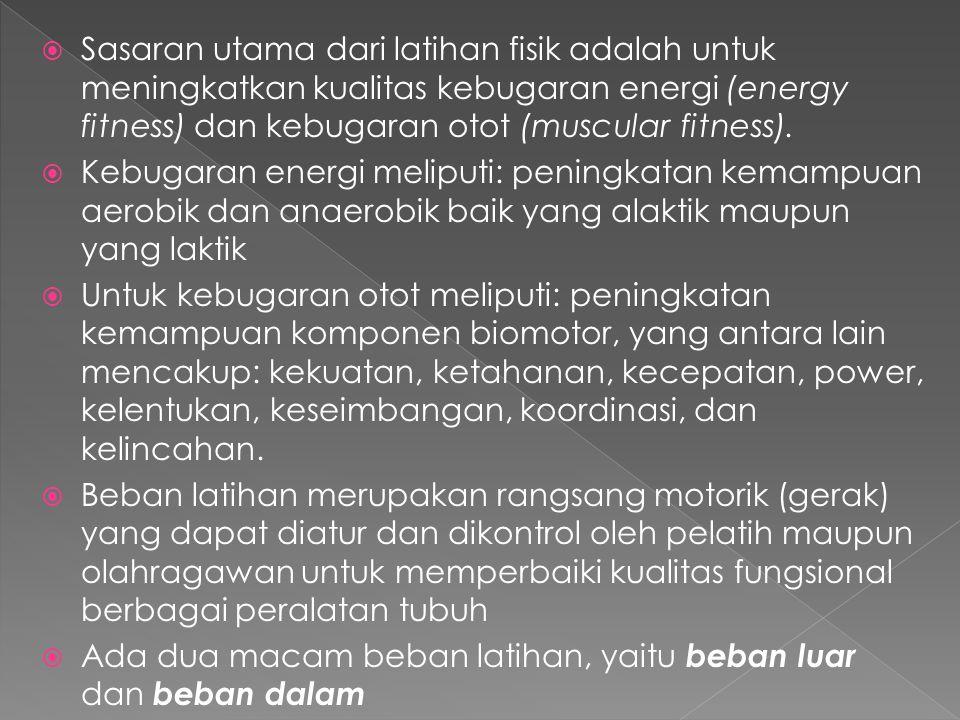 Sasaran utama dari latihan fisik adalah untuk meningkatkan kualitas kebugaran energi (energy fitness) dan kebugaran otot (muscular fitness).