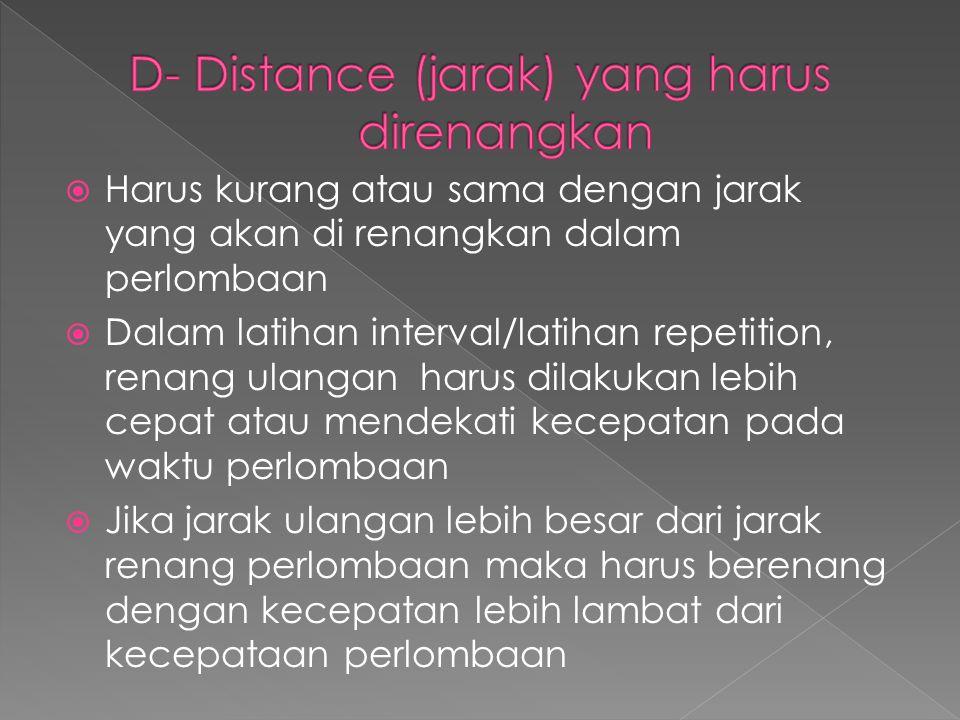 D- Distance (jarak) yang harus direnangkan