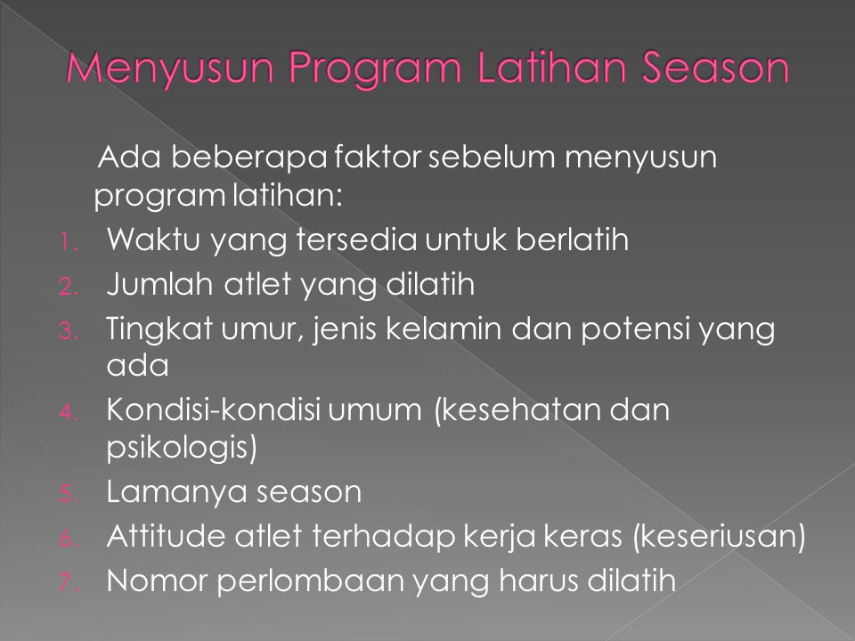 Menyusun Program Latihan Season