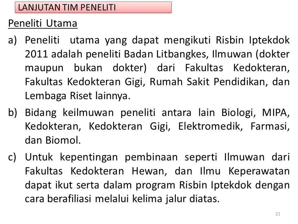 LANJUTAN TIM PENELITI Peneliti Utama.