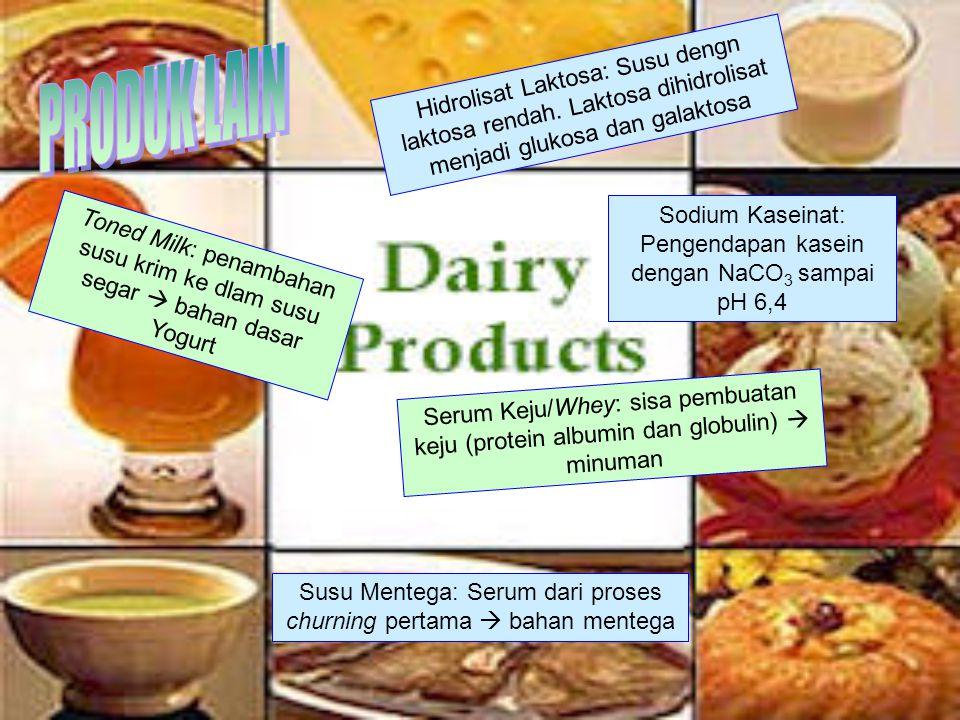 PRODUK LAIN Hidrolisat Laktosa: Susu dengn laktosa rendah. Laktosa dihidrolisat menjadi glukosa dan galaktosa.