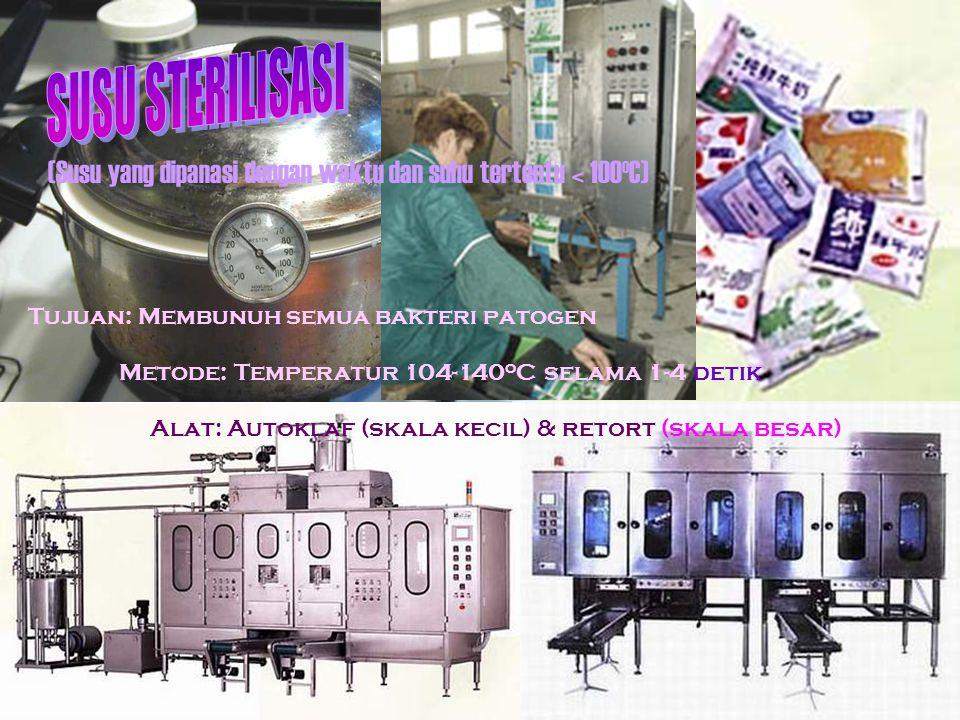 SUSU STERILISASI (Susu yang dipanasi dengan waktu dan suhu tertentu < 100oC) Tujuan: Membunuh semua bakteri patogen.