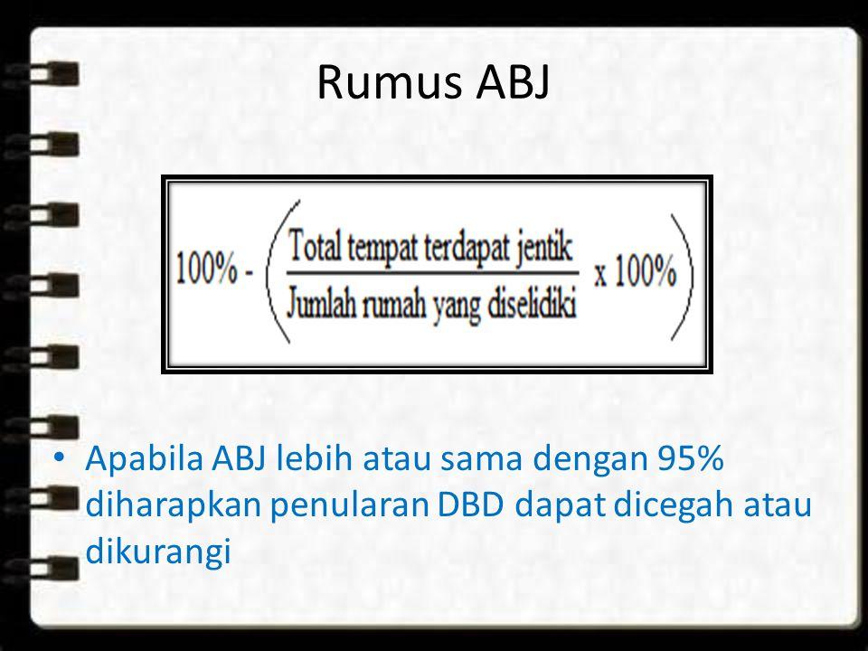 Rumus ABJ Apabila ABJ lebih atau sama dengan 95% diharapkan penularan DBD dapat dicegah atau dikurangi.