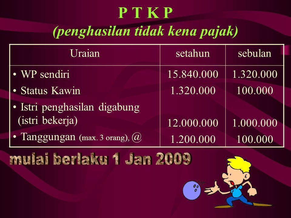 P T K P (penghasilan tidak kena pajak)