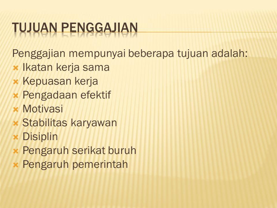 Tujuan Penggajian Penggajian mempunyai beberapa tujuan adalah: