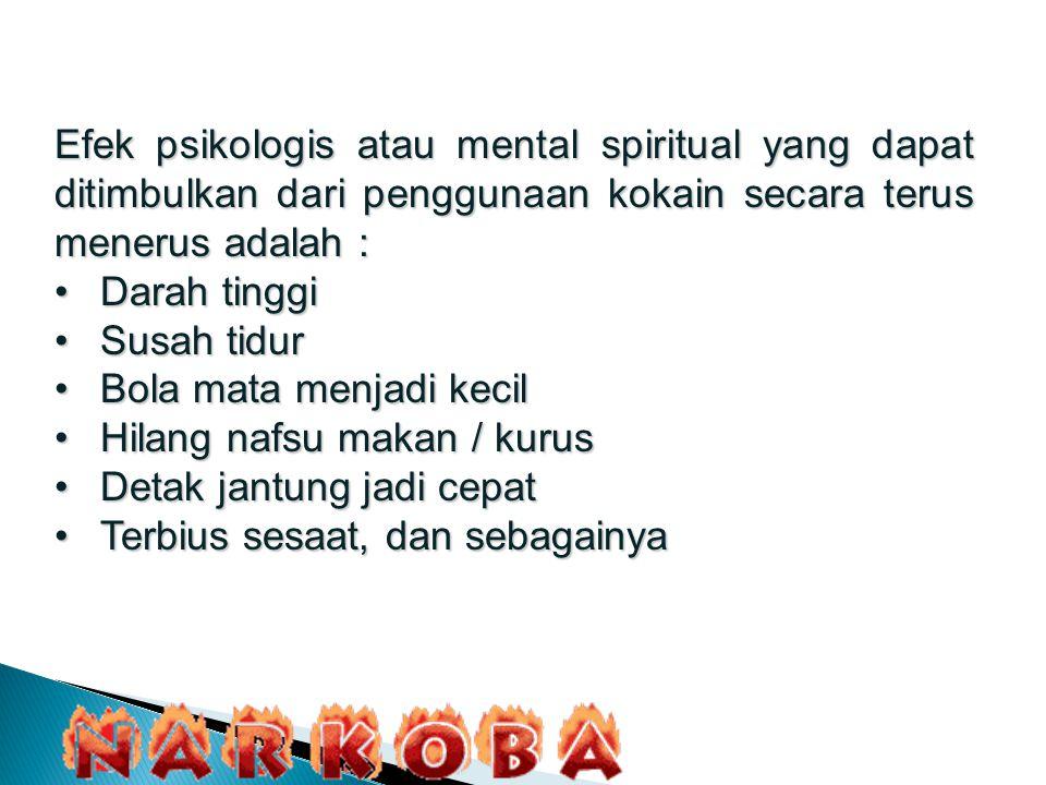 Efek psikologis atau mental spiritual yang dapat ditimbulkan dari penggunaan kokain secara terus menerus adalah :