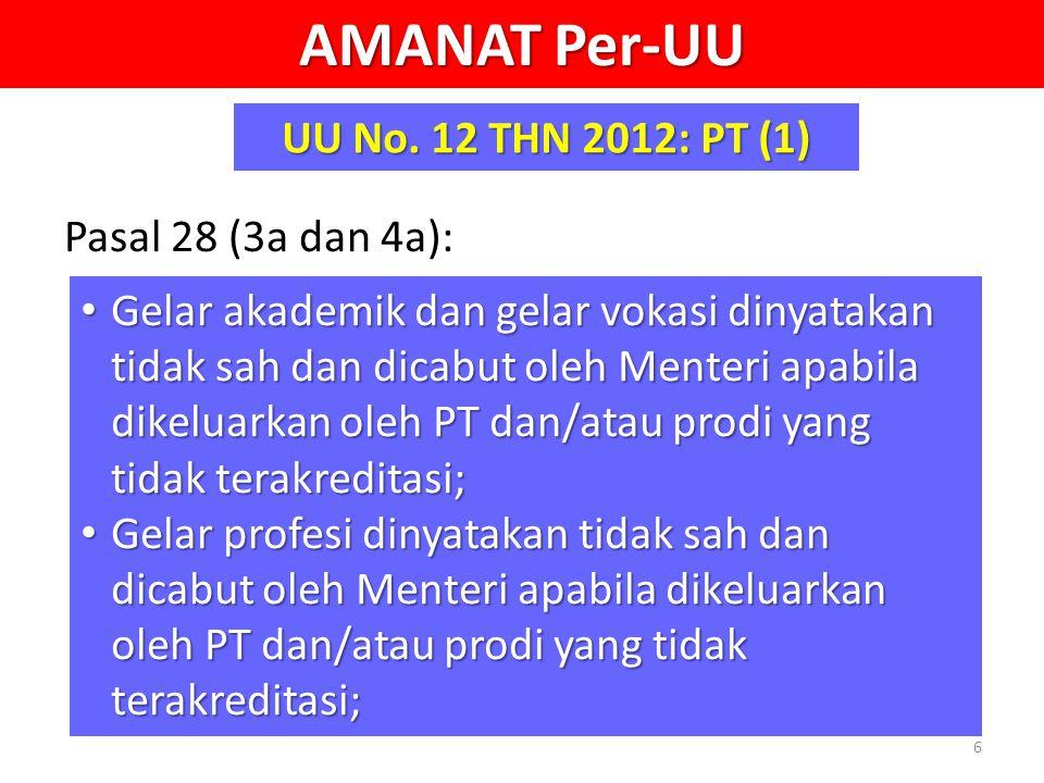 AMANAT Per-UU UU No. 12 THN 2012: PT (1) Pasal 28 (3a dan 4a):