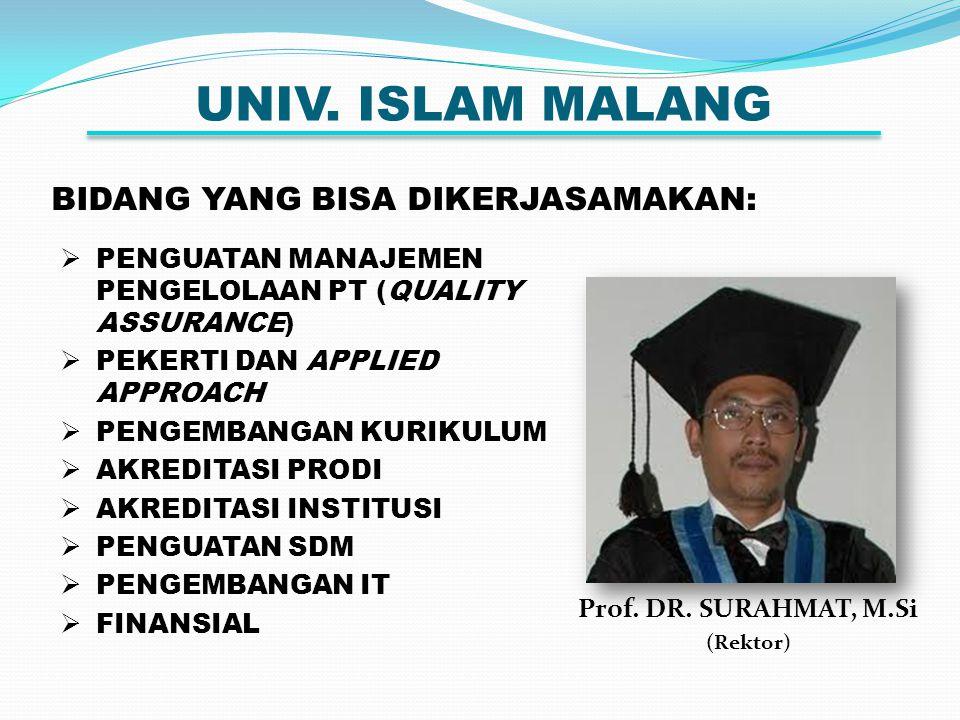 UNIV. ISLAM MALANG BIDANG YANG BISA DIKERJASAMAKAN: