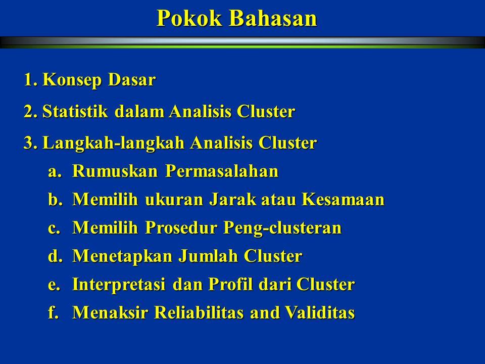Pokok Bahasan 1. Konsep Dasar 2. Statistik dalam Analisis Cluster