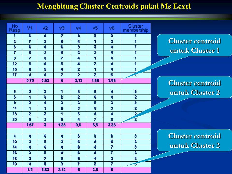Menghitung Cluster Centroids pakai Ms Ecxel