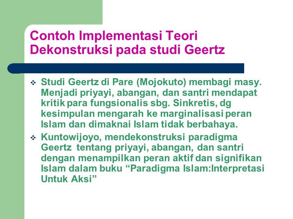Contoh Implementasi Teori Dekonstruksi pada studi Geertz