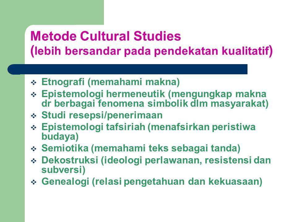 Metode Cultural Studies (lebih bersandar pada pendekatan kualitatif)