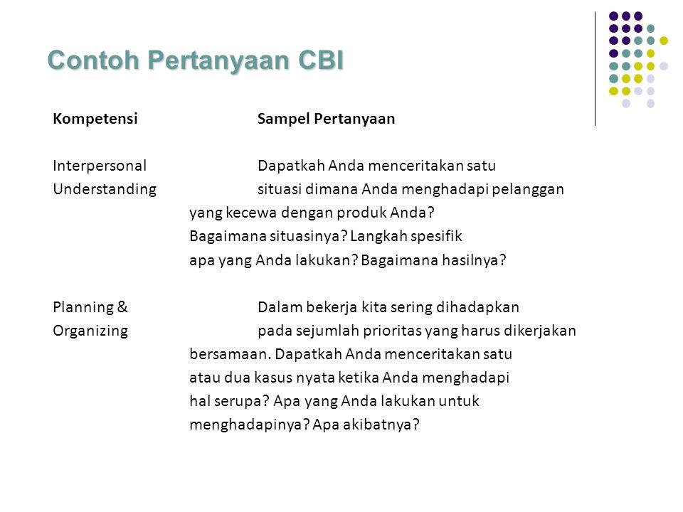 Contoh Pertanyaan CBI Kompetensi Sampel Pertanyaan