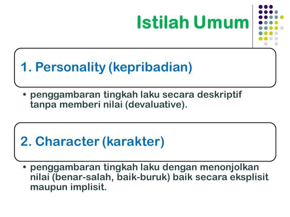 Istilah Umum 1. Personality (kepribadian) 2. Character (karakter)