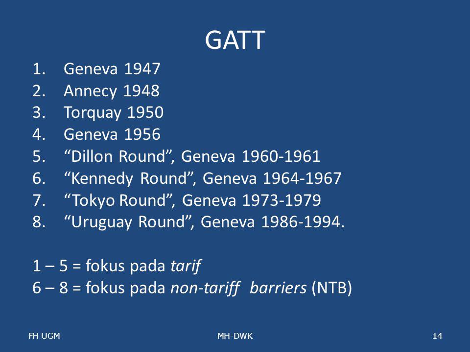 GATT Geneva 1947 Annecy 1948 Torquay 1950 Geneva 1956