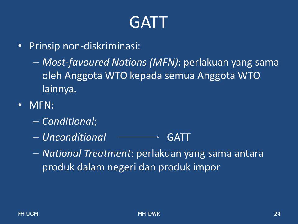 GATT Prinsip non-diskriminasi: