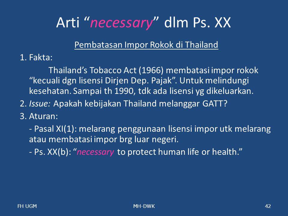 Arti necessary dlm Ps. XX