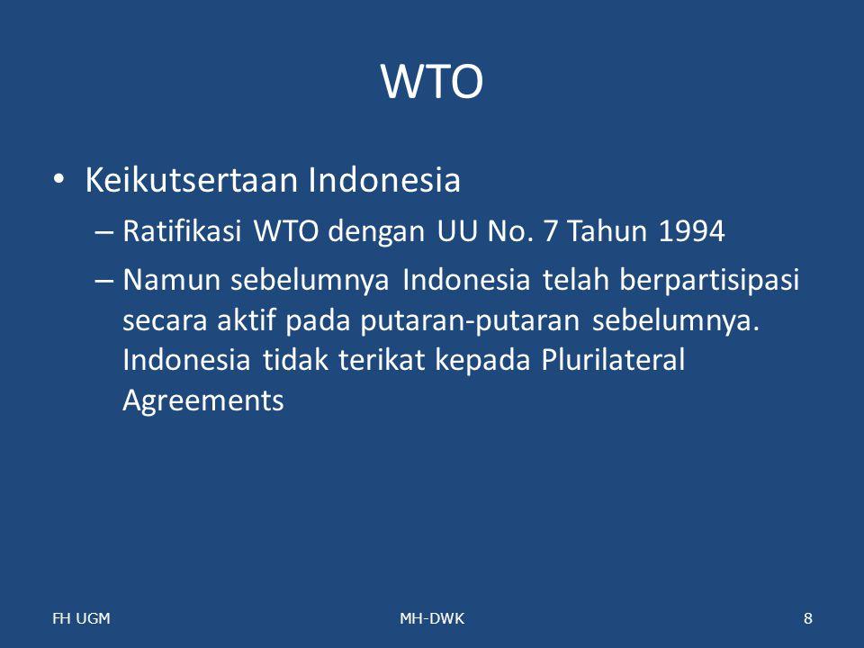 WTO Keikutsertaan Indonesia Ratifikasi WTO dengan UU No. 7 Tahun 1994