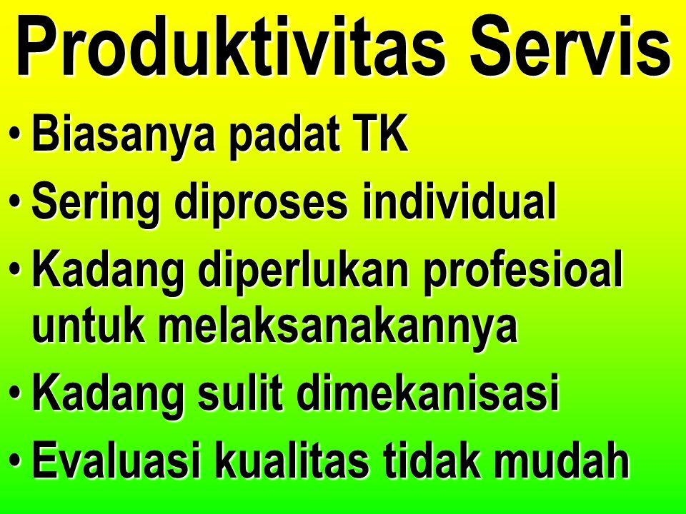 Produktivitas Servis Biasanya padat TK Sering diproses individual